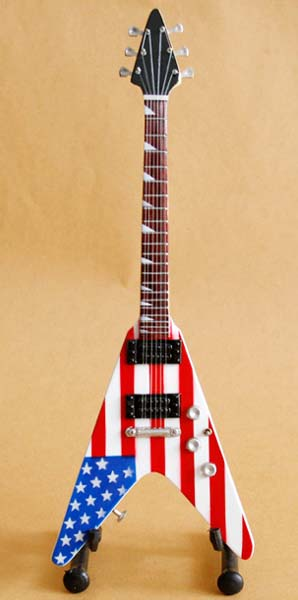 Miniature Guitar American flag