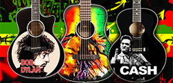Miniature guitars Acoustic Bob Dylan< Bob marley and Johny Cash